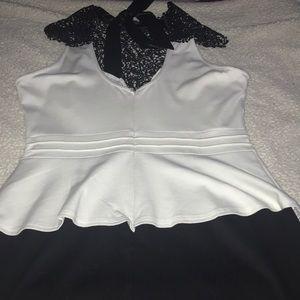 Dots Dresses - Black & White Tulip Cocktail Dress